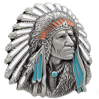 Hebilla de cinturon con indios nativos americanos