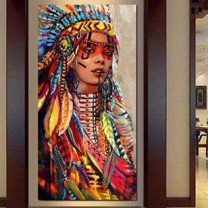 Cuadro con india nativa americana