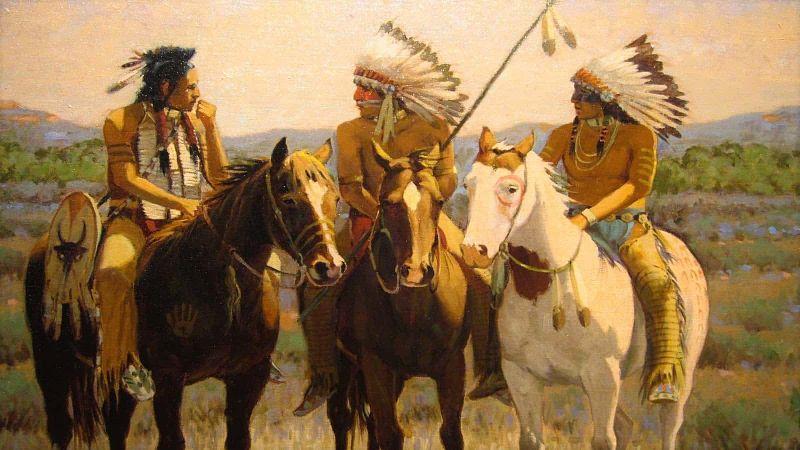 Apaches con sus caballos